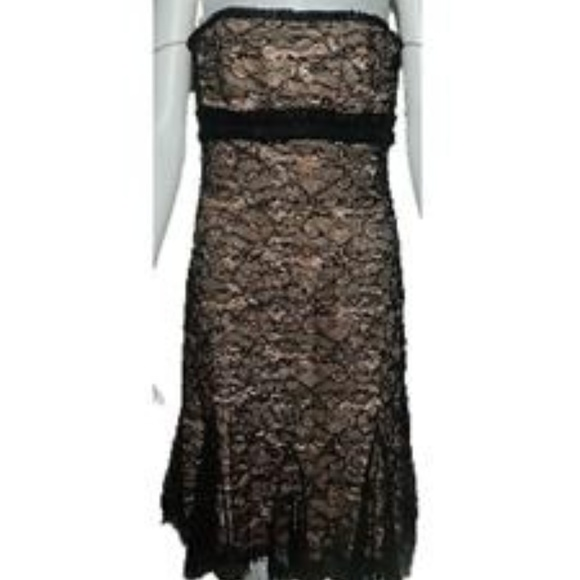 Badgley Mischka Black Strapless Lace Dress Sz 4